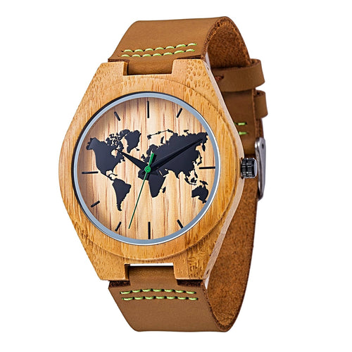 Bamboo Wood World Map Watch for Men Gifts for Travelers
