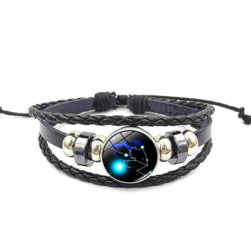 Unisex Leather Multi-layer Zodiac Bracelet