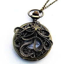 Vintage Handmade Quartz Octopus Pocket Watch Necklace Gift for Octopus Fans