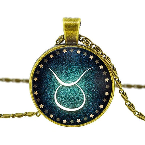 Bronze Vintage Zodiac Pendant Necklace
