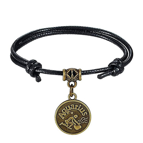 Leather Rope Zodiac Bracelet