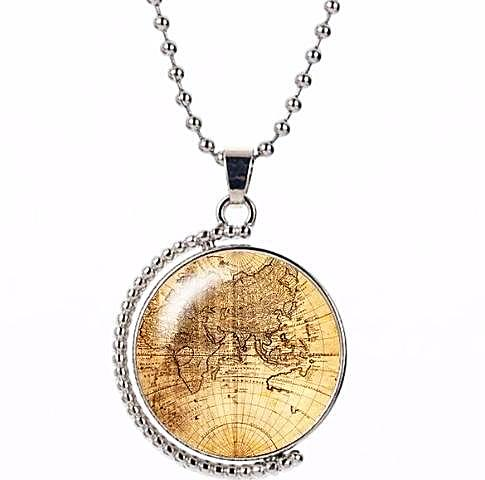 **FREE** Rotating Glass Dome Old World Map Necklace