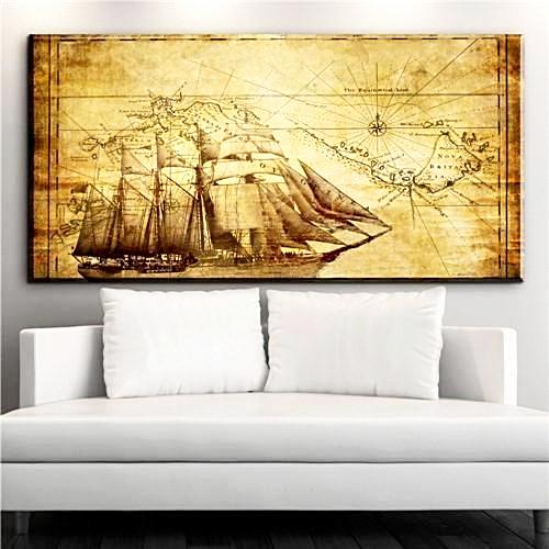 Decorative Vintage Compass and Map Wall Canvas