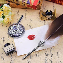 Vintage Map Feather Quill Pen Set - Calligraphy Gifts