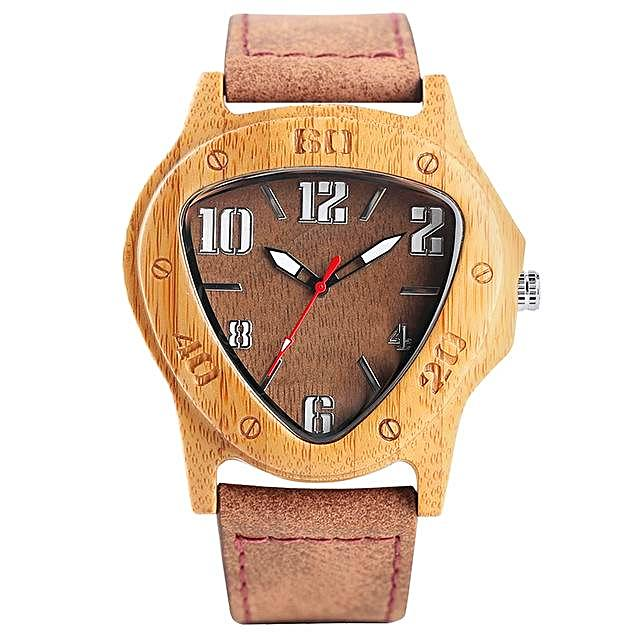 Triangle Face Bamboo Wood Watch for Men