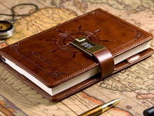 Navigation Pattern Leather Journal with Lock Leather Diary
