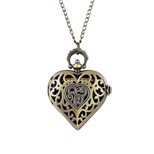 Vintage Quartz Heart Pocket Watch Pendant Necklace