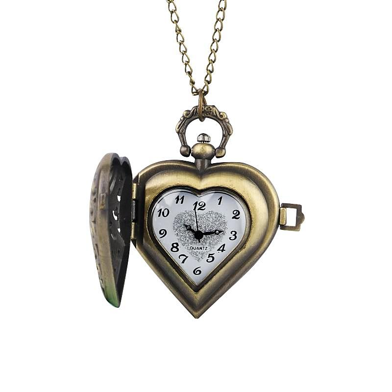 Vintage quartz heart pocket watch necklace gifts for women vintage quartz heart pocket watch pendant necklace mozeypictures Gallery