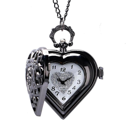 Vintage Black Heart Quartz Pocket Watch Necklace