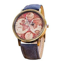 Vintage Travel World Map Watch Unisex