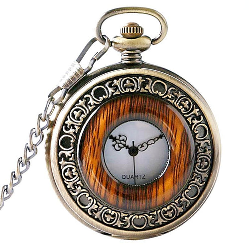 Vintage Wood Imitation Pocket Watch Necklace