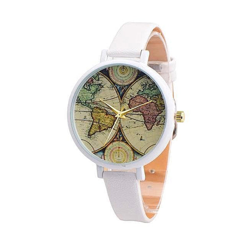 Women's Casual World Map Watch Gift for Travelers