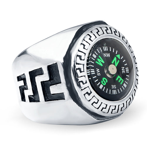 Vintage Stainless Steel Compass Ring for Men Unique Travel Gifts for Travelers