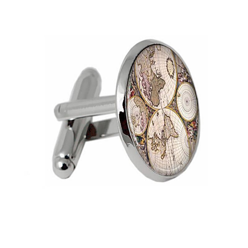 Vintage World Map Print Cufflinks-Unique Gifts for Men-Gifts for Travelers