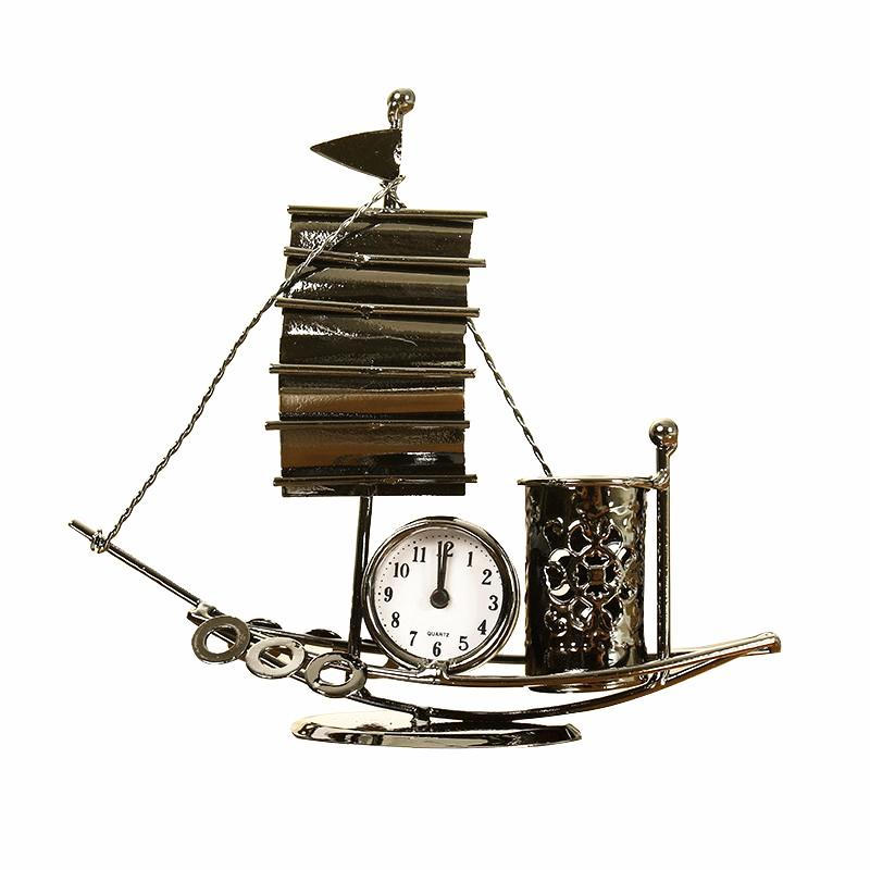 Vintage Bronze Sailing Table Clock