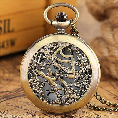 Vintage Magpie Pocket Watch Necklace - Unique Watches - Fob Watches