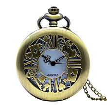 Vintage Bronze Alice in Wonderland Pocket Watch Necklace Unique Watches Fob Watch
