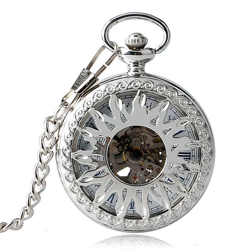 Steampunk Hollow Sun Pocket Watch Necklace Unique Gifts for Sister