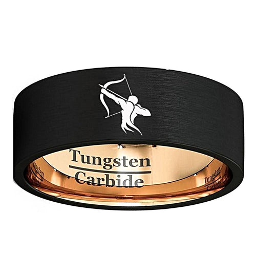 Black and Rose Tungsten Sagittarius Zodiac Ring Unique Gifts for Men