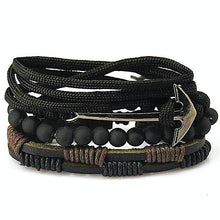 Leather Multi-layer Bead Anchor Bracelet Gifts for Men Nautical Jewelry