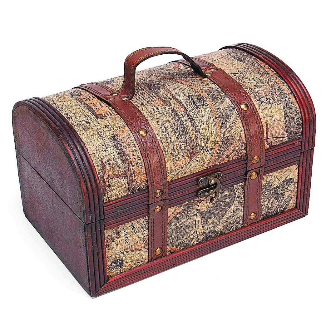 Vintage Trunk World Map Jewellery Box Unique Gifts for Grandma Home Decor