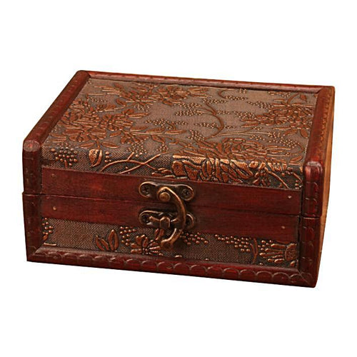 Vintage Bamboo Trunk Jewellery Box Unique Gifts for Grandma Home Decor