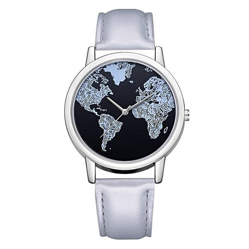 Black World Map Quartz Watch for Women
