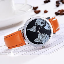 Black World Map Quartz Watch for Women Gifts for Travelers