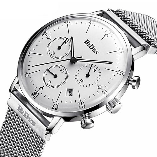 Stainless Steel Strap Chronograph Men's Watch Gifts for Him