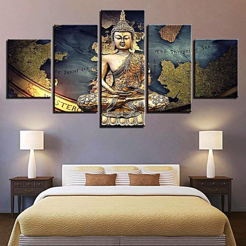 5pcs Golden Buddha Canvas Wall Art Home Decor Gifts