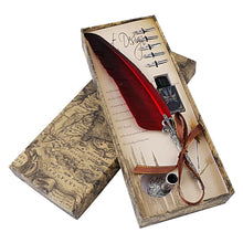Vintage Map Feather Quill Pen Calligraphy Set Calligraphy Gifts