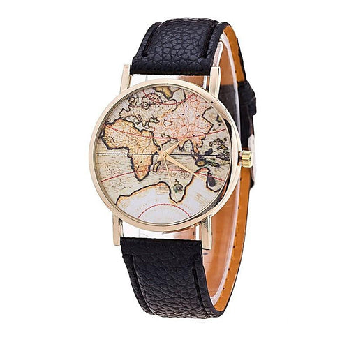Casual Leather Strap World Map Watches for Women Gifts for Her
