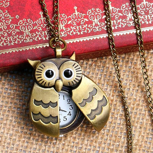 Vintage Owl Pocket Watch Necklace Unique Gifts for Owl Lovers