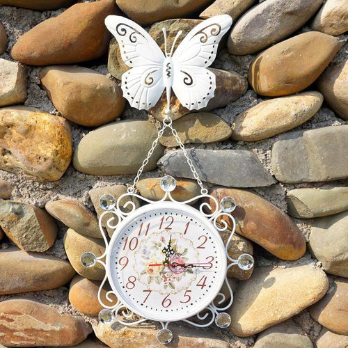 Vintage Handmade Butterfly Wall Clock Unique Home Decor Gifts for Grandparents
