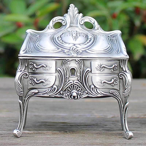 Delicate Vintage Pewter Plated Jewellery Trinket Box Gifts for Her
