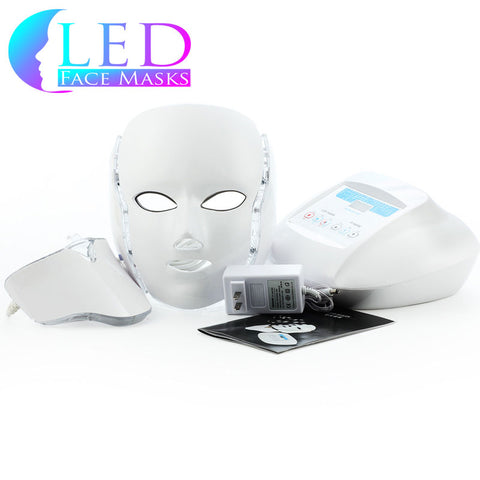 White 3 LED Face Mask & Neck Piece w/ Microcurrent & Oxygen - Professional Plus Model
