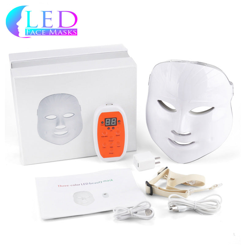 White Rechargeable 3 LED Face Mask - Premium Model