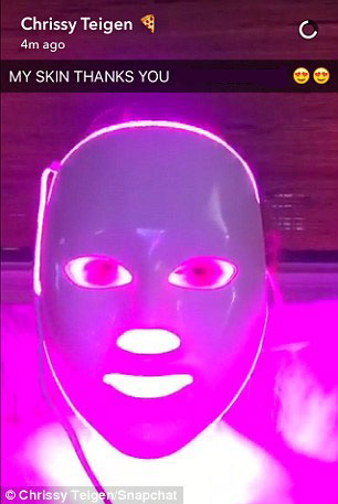 Chrissy Teigen Using LED Face Mask