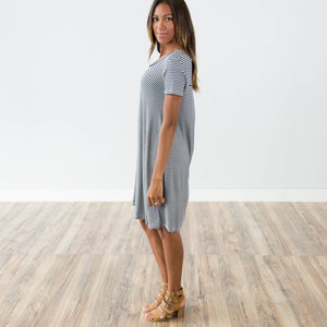 Zoey Stripe Dress in Navy