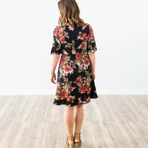 Piper Floral Dress in Black