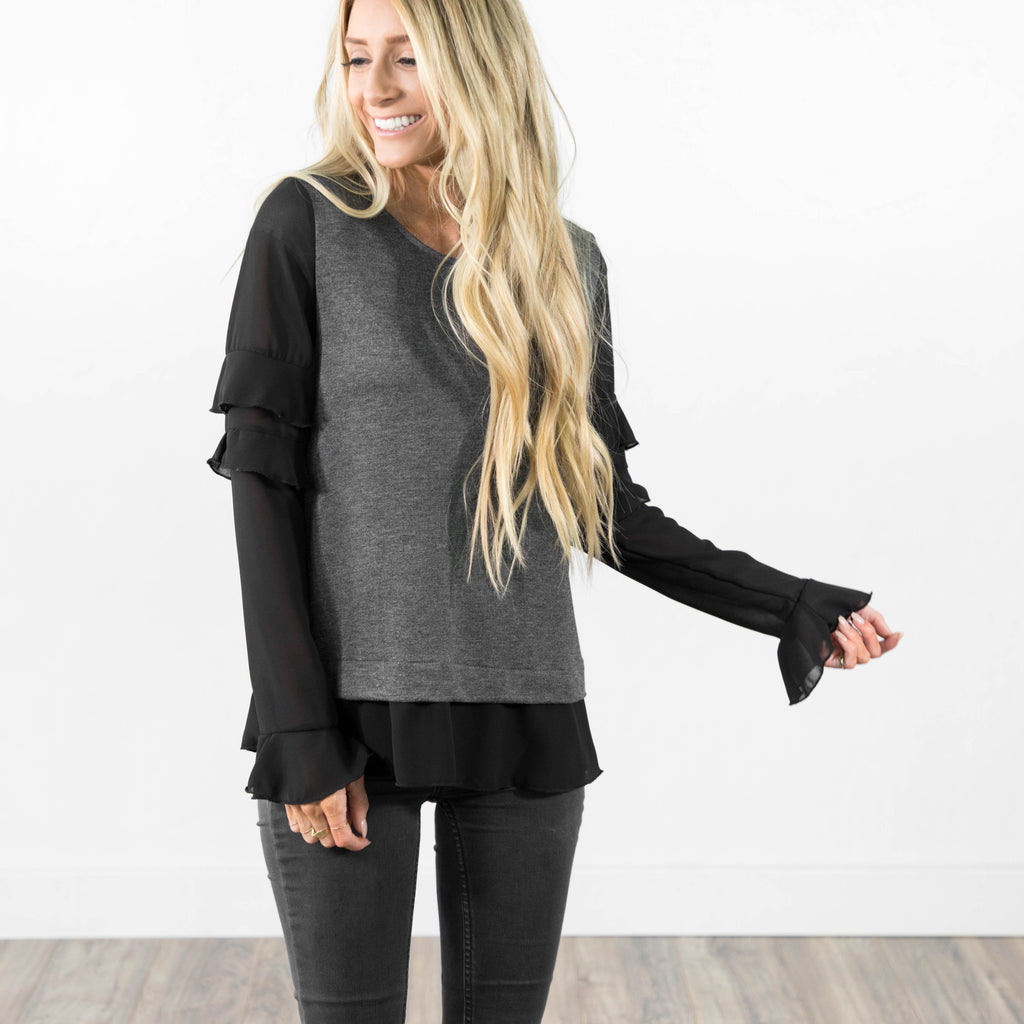 Madeira Ruffle Top in Charcoal