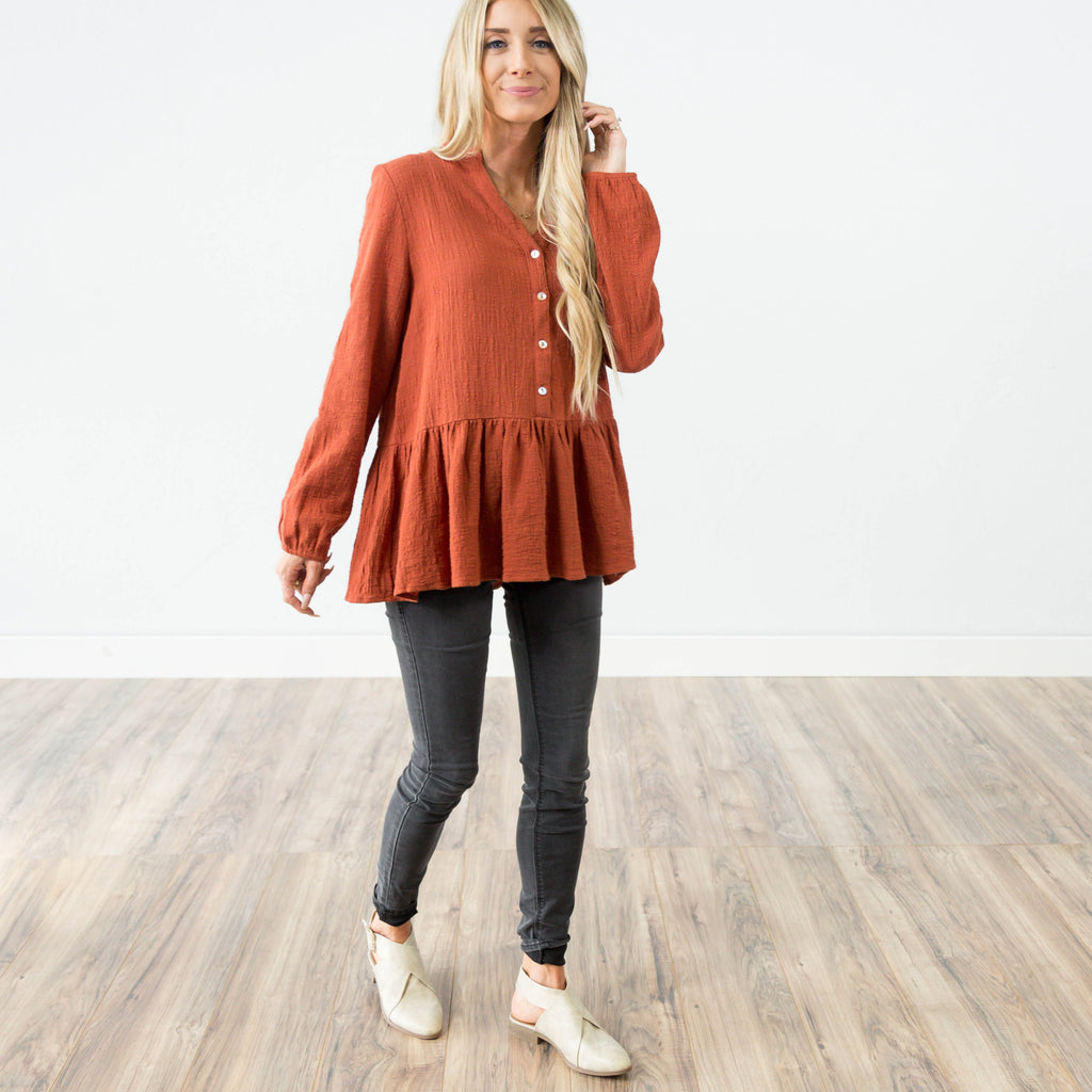 Rowan Peplum Button Up