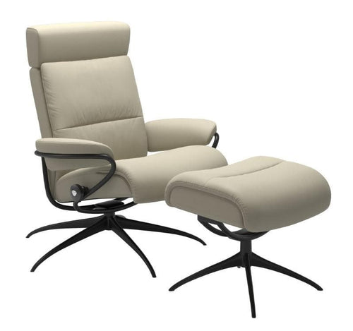 Stressless Stressless Tokyo Low Back Adjustable Headrest Recliner and Ottoman - Stressless