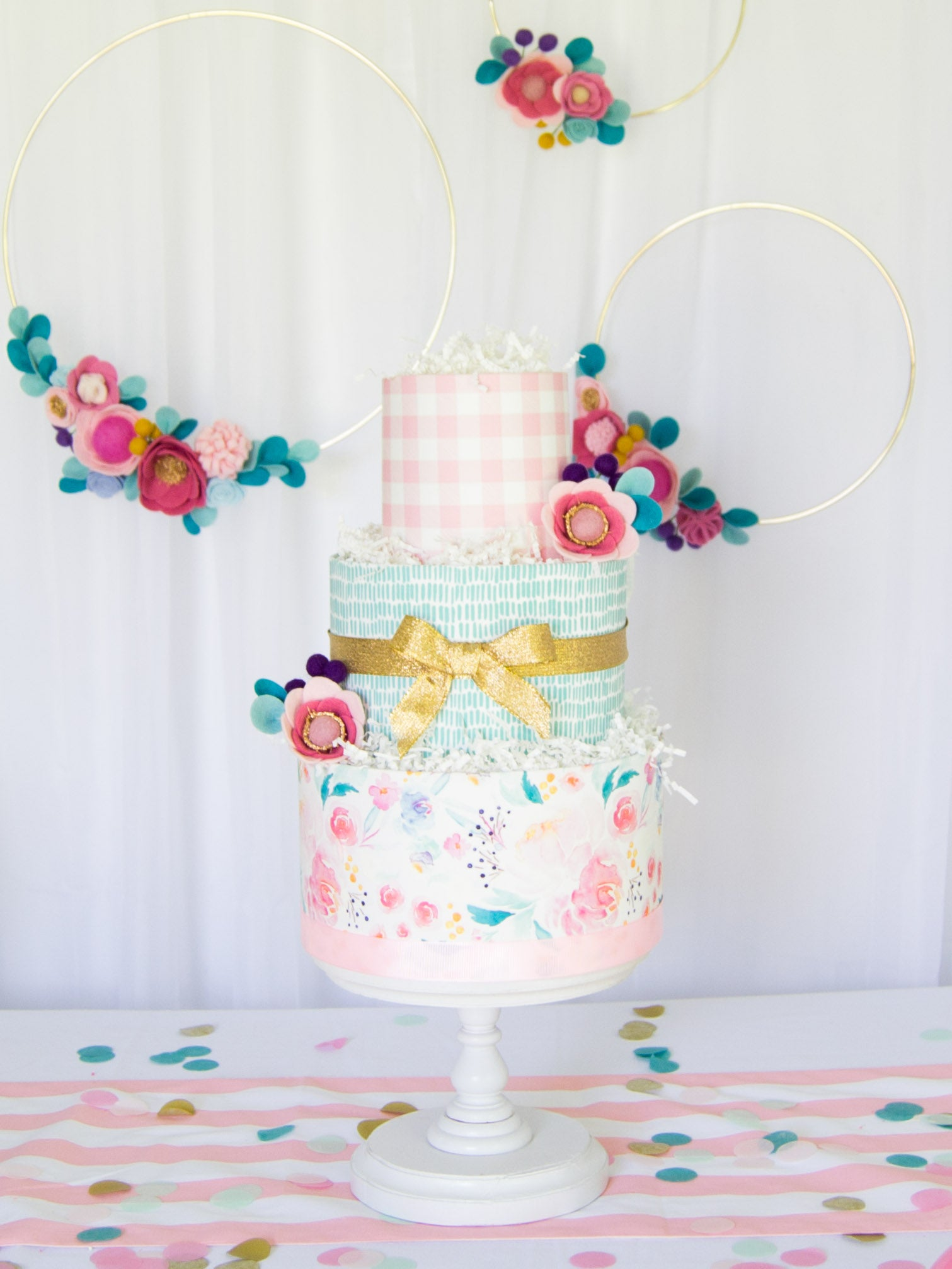 watercolor flower diaper cake