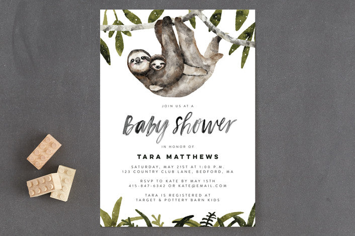 Sloth Baby Shower Invitation