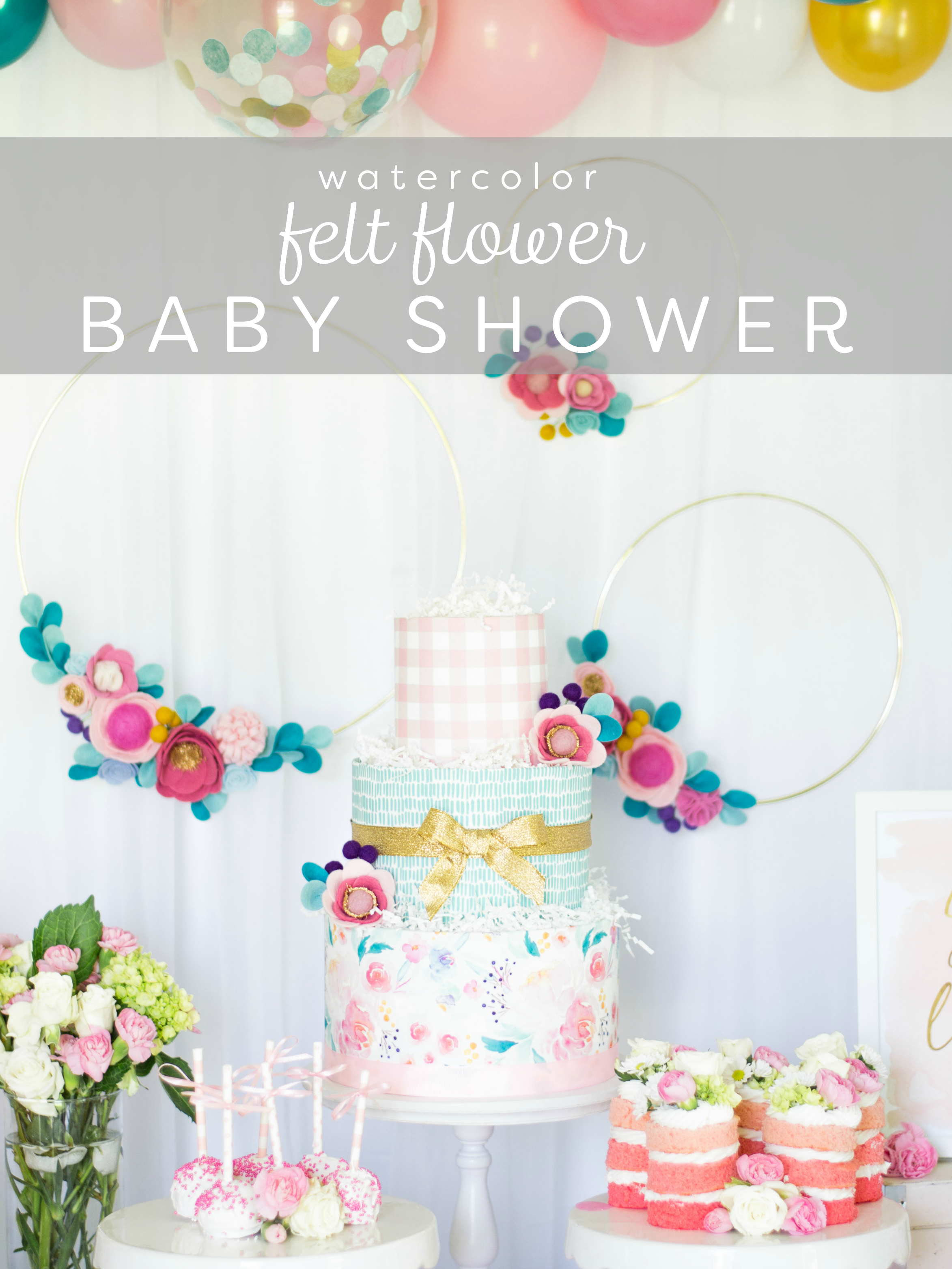 watercolor felt flower baby shower