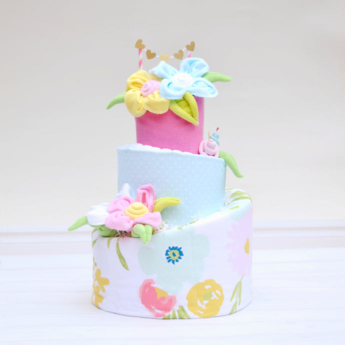 Floral fields diaper cake