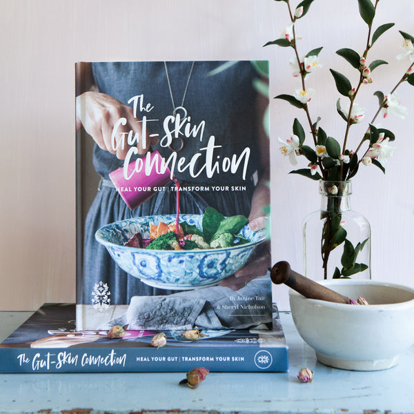 new! THE GUT-SKIN CONNECTION book (with FREE mini Bestow Beauty Plus Oil)