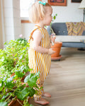 Harem Coverall Romper in Mustard Stripes