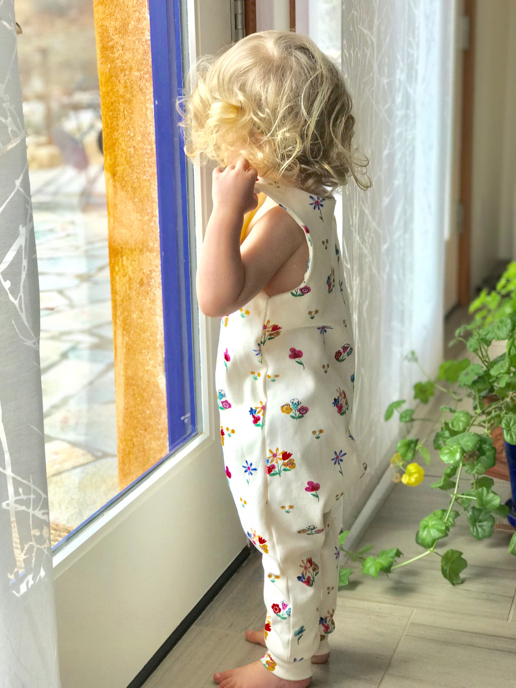 Harem Coverall Romper in Spring Flowers